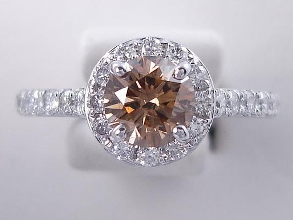 1.58 ctw Round Brilliant Cut Natural Chocolate Diamond Engagement Ring - BigDiamondsUSA