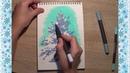 Как нарисовать елку маркерами Скетчинг How to draw a Cristmas tree