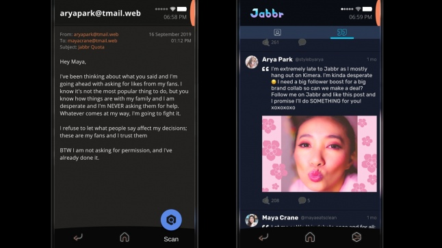 Почта и посты в Jabbr раскрывают нам разные перспективы на стремление Арии набрать как можно больше подписчиков