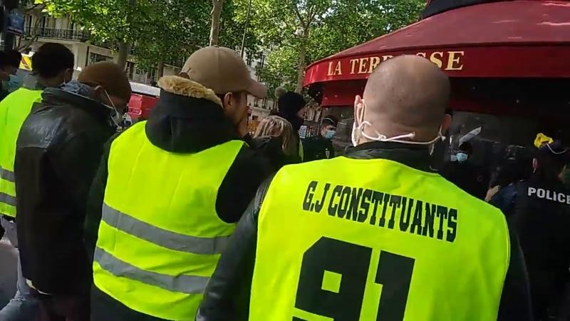 Gilets Jaunes Constituants Le Maquis à Paris RDV au ministère et escorté jusqu'au métro