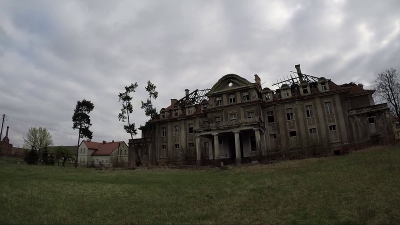 Abandoned castle Pałac Durra Poland April 2017 with gopro hero5 and dji phantom 3 professional