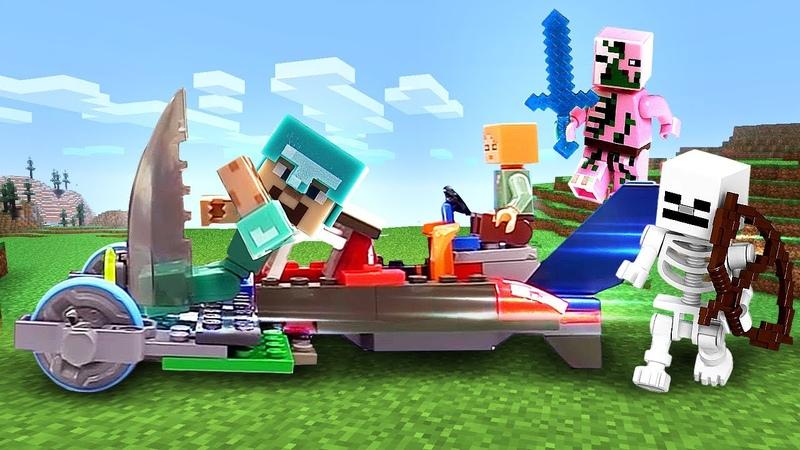 Майнкрафт видео сборник Машинка для Стива и Алекс! Как победить мобов? Видео игры Майнкрафт Лего.