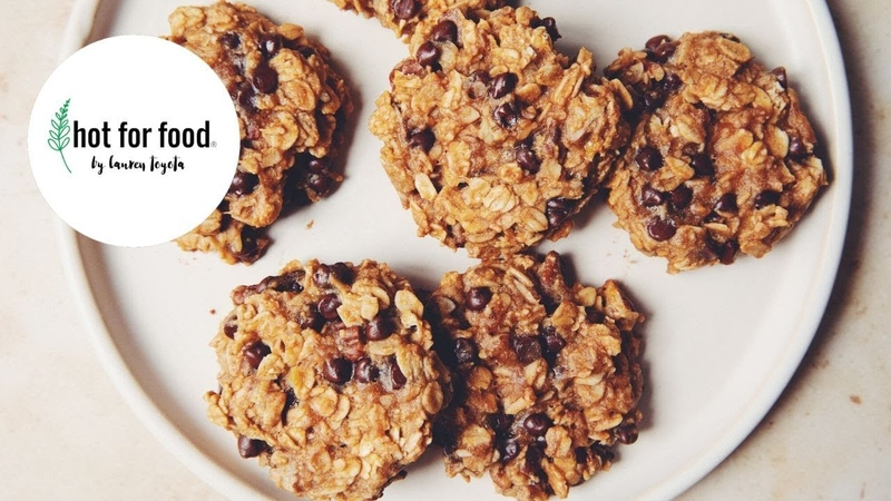 Easy vegan oatmeal chocolate chip cookies hot for food