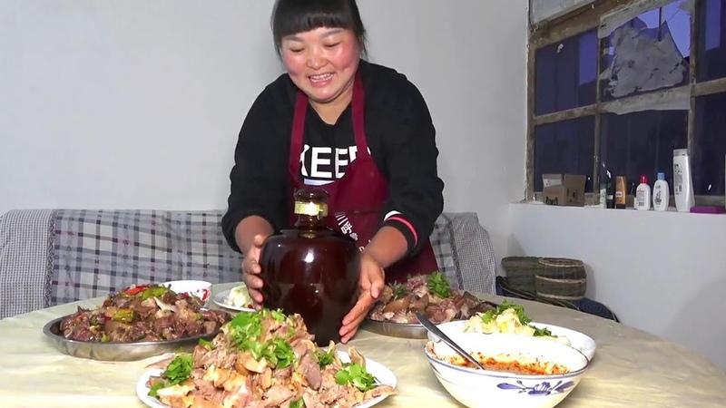 """爸爸生日,50斤牛头,做""""牛头宴"""",牛舌牛脑,炒的凉拌的,太过瘾了!【38"""