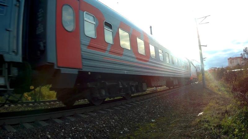 Электровоз ЭП10 004 с поездом№121В Москва Брянск перегон Нара Лташыская 24 09 2019