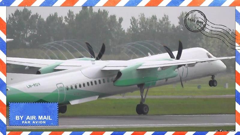 BEAUTIFUL PROPELLER VORTEX on ATR 72 and DASH 8 TakeOff OY LHB LN RDV Spiral Slipstream