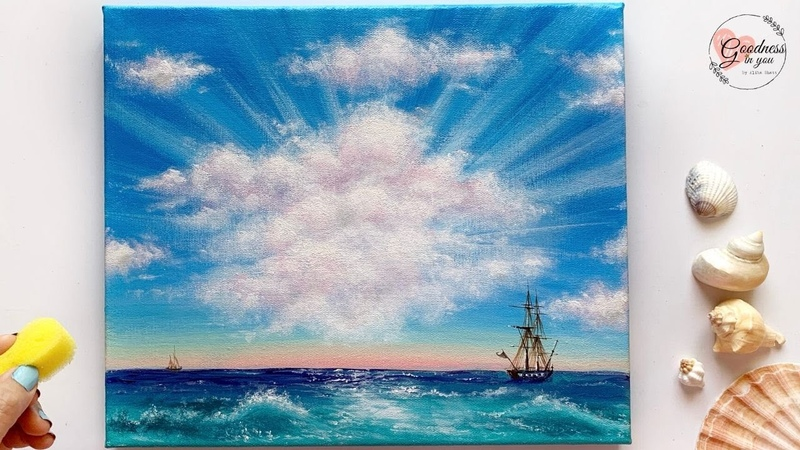 Quick and Easy Trick to paint CLOUDS Clouds near Ocean Acrylic Painting for Beginners