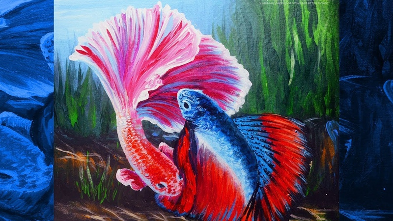 ACRYLIC PAINTING TUTORIAL Colorful Male and Female Siamese Fighting Fish | ART LESSON FOR BEGINNERS