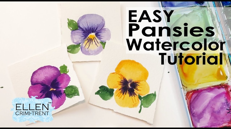 Easy Pansy Watercolor Tutorial for Beginners Step by Step Mini Monday Madness 29