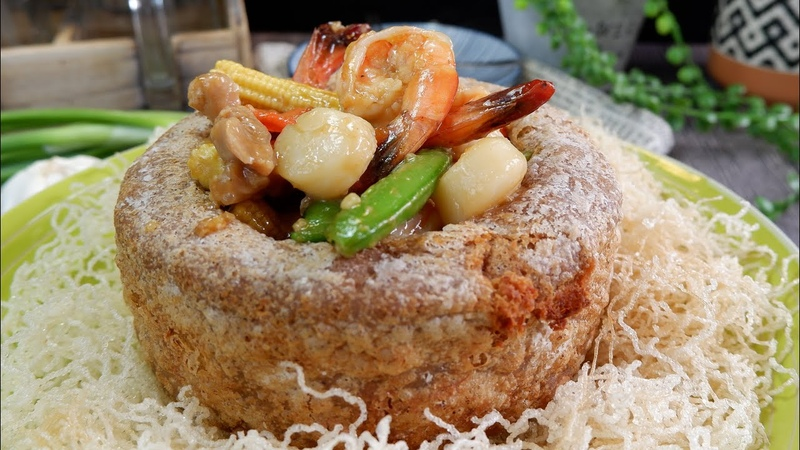 Highly Requested Restaurant Style Prosperity Yam Ring Recipe 佛钵飘香 Chinese Seafood Chicken Stir Fry