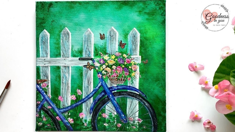 Welcome Spring A Bicycle near a Fence Acrylic Painting for Beginners