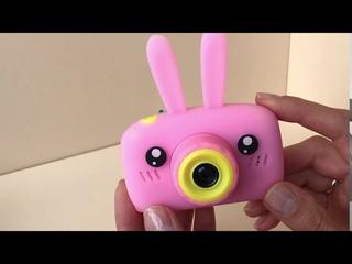 Детский цифровой фотоаппарат розовый зайчик. Kids camera. Хороший обзор.