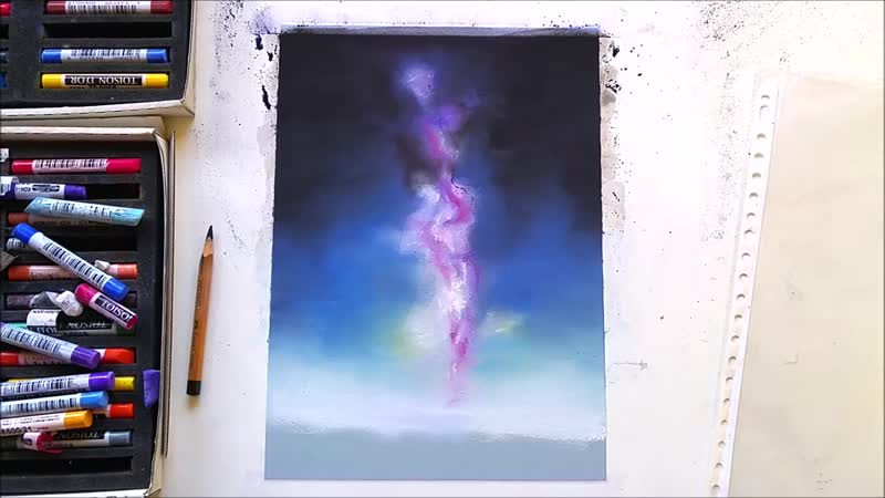 Drawing a galaxy with soft pastels Leontine van Vliet