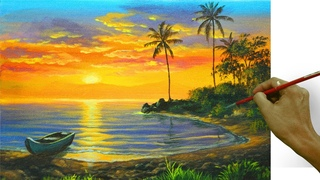 Acrylic Landscape Painting in Time-lapse / Tropical Sunset Beach with Boat / JMLisondra