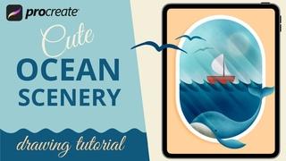 Ocean Scenery Painting in PROCREATE - Easy iPad Drawing Tutorial