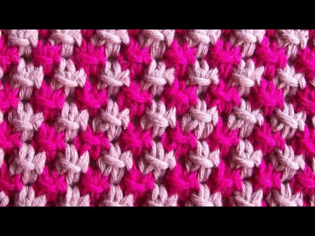 Двухцветный Болгарский крестик Вязание спицами Видеоурок 76