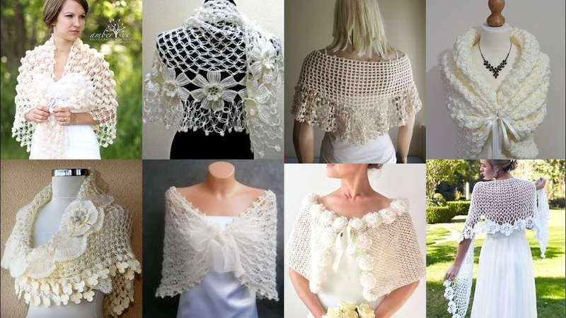 Stylish Crochet Lace Flower Caplet Shawal Scarf Designs Patterns For Ladies 2k20Bridal Shawal