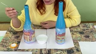 Мастер-класс «Декорирование бутылки -декупаж в салфеточной технике
