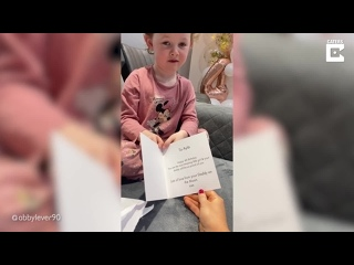 """[Caters Clips] Little Girl Opens Birthday Card From Her """"Daddy On The Moon"""""""