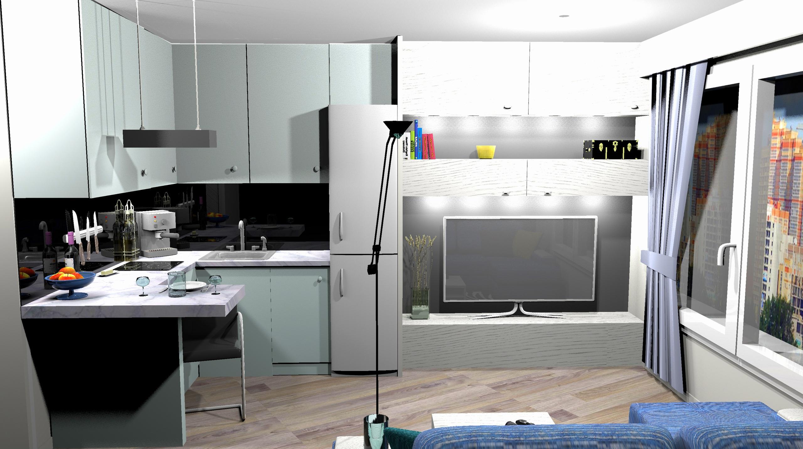 Визуализация интерьера студии 23 кв/м.