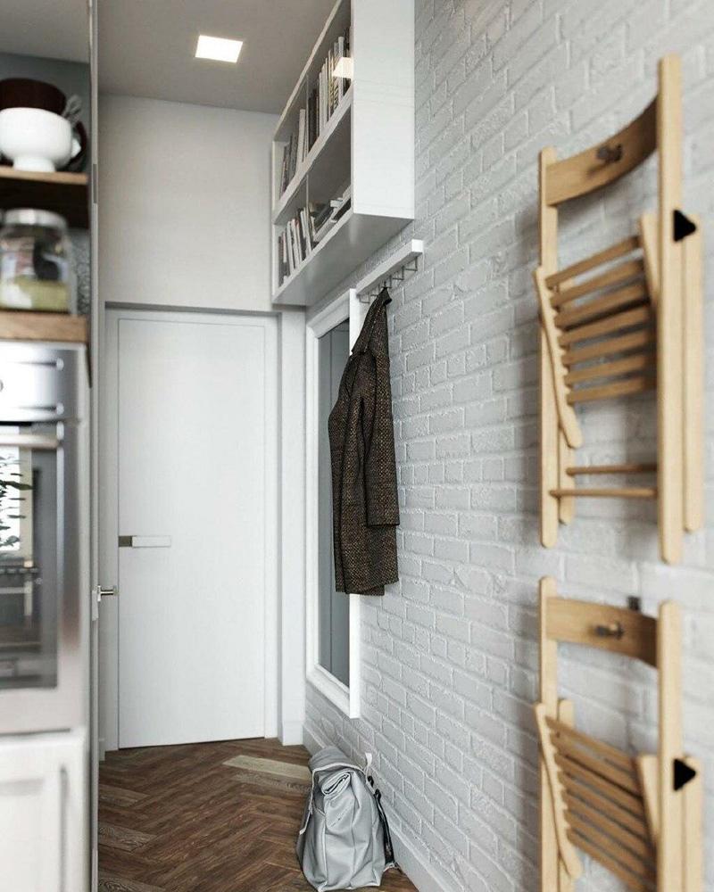Проект маленькой квартиры-студии почти 18 м, высота потолка 3,1 м.