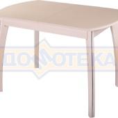 Стол обеденный  Танго ПО-1 МД ст-КР 07 ВП МД, молочный дуб, стекло кремового цвета