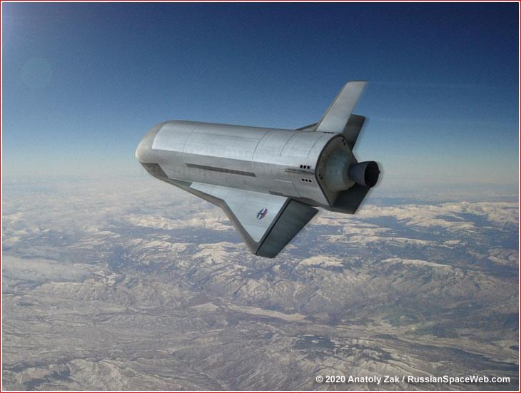 Художник изображает потенциальный российский космический самолет, возвращающийся на взлетно-посадочную полосу после орбитального полета.