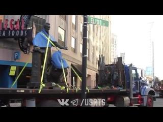 Демонтаж памятника Линкольну и рабу в Бостоне - 28/12/2020