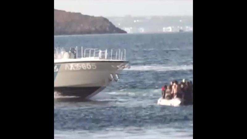 Греческая береговая охрана палками и выстрелами отгоняет беженцев в сторону Турции mp4