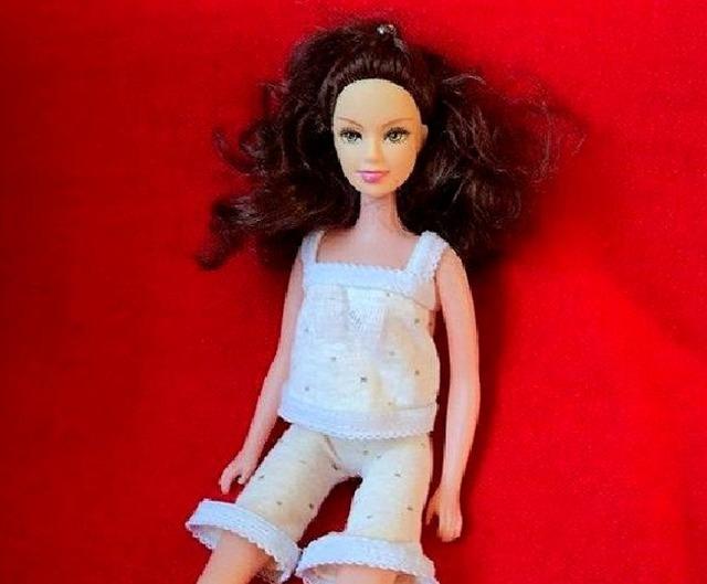 Пижама для Барби из трикотажа (МК), как сшить пижаму для Барби, как сшить пижаму для куклы своими руками,