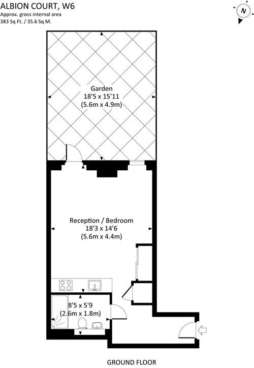 Квартира-студия 35,6 м в Лондоне со своим двориком.