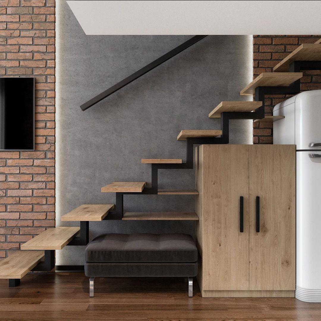 Проект двухуровневой квартиры-студии 27 кв.