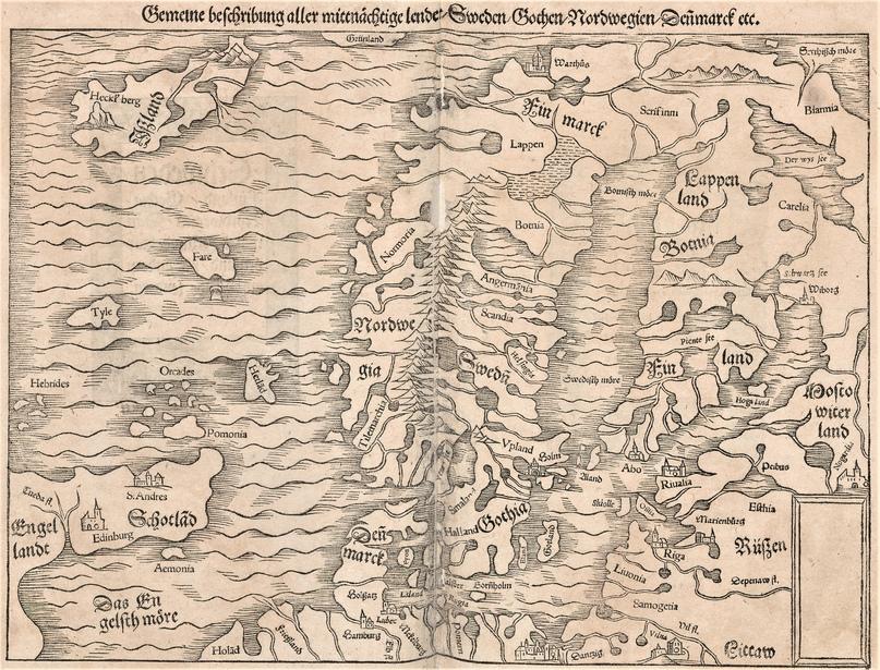 Северная Европа. «Космография» Себастиана Мюнстера (1544)