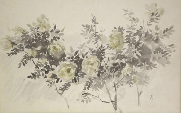 Василий Михайлович Звонцов (13 апреля 1917-1994) русский художник-график, офортист, педагог, автор теоретических исследований. Китайская тушь, акварель на рисовой