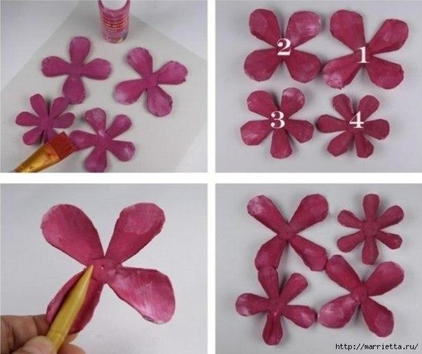 Цветок из картонного лотка от яиц