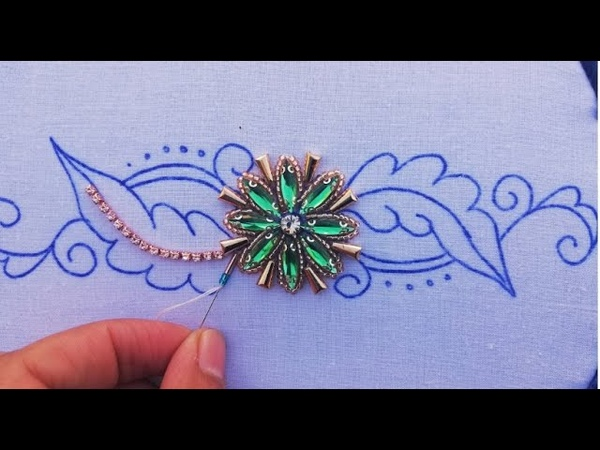 Hand embroideru design with long beads beads work