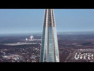 Лахта Центр с высоты птичьего полета и Парк 300-летия Санкт-Петербурга, 2021