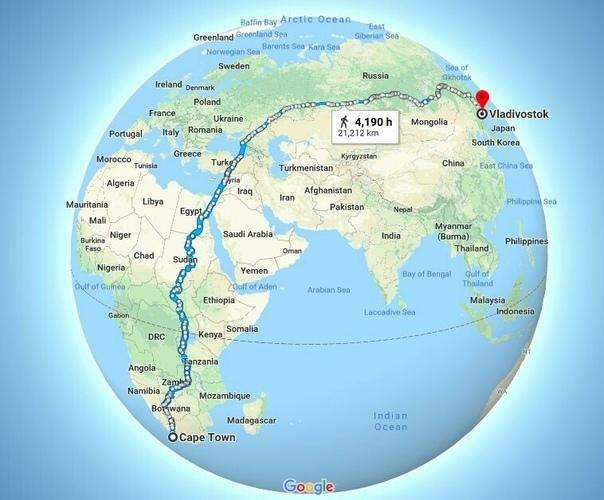Самая длинная прогулка по версии Google maps - 21212 км.