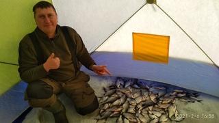 Супер Клёв! Бешеный Жор Подлещика Зимой 2021! Отлично порыбачил! Рыбалка в палатке зимой.